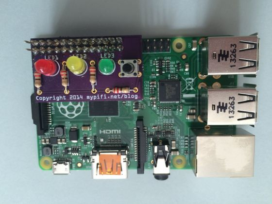 MyPifi LED add-on with extended GPIO pins allowing 'stacking' on Model B+