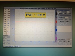 The screen here shows a 1V output from PVS with IN1 used as input - we have used CH2 to show trace.