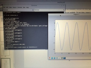 Python is here used to code not just to generate the SINEwave  but also to plot the output from A1.